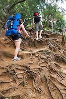 Backpackers on Napali Coast Trail. Kauai, Hawaii