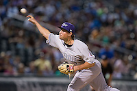 Louisville Bats relief pitcher Drew Hayes (24) delivers a pitch to the plate against the Charlotte Knights at BB&T BallPark on May 12, 2015 in Charlotte, North Carolina.  The Knights defeated the Bats 4-0.  (Brian Westerholt/Four Seam Images)