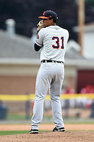 Connecticut Tigers pitcher Fernando Perez (31) gets ready to deliver a pitch during the first game of a doubleheader against the Batavia Muckdogs on July 20, 2014 at Dwyer Stadium in Batavia, New York.  Connecticut defeated Batavia 5-3.  (Mike Janes/Four Seam Images)