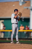 Danville Braves relief pitcher Bradey Welsh (53) looks in for the sign during a game against the Johnson City Cardinals on July 29, 2018 at TVA Credit Union Ballpark in Johnson City, Tennessee.  Johnson City defeated Danville 8-1.  (Mike Janes/Four Seam Images)