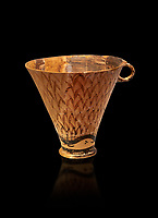 Minoan clay cup decorated with reeds, Zakros Palace  1600-1450 BC; Heraklion Archaeological  Museum, black background.