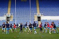 London Scottish warming up during the Greene King IPA Championship match between London Irish Rugby Football Club  and London Scottish Football Club at the Madejski Stadium, Reading, England on 2 March 2019. Photo by Carlton Myrie.