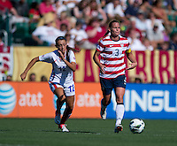 Mayra Almazan, Christie Rampone.  The USWNT defeated Costa Rica, 8-0, during a friendly match at Sahlen's Stadium in Rochester, NY.