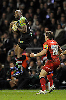 Ugo Monye of Harlequins catches a high ball during the Aviva Premiership match between Harlequins and Saracens at Twickenham on Tuesday 27 December 2011 (Photo by Rob Munro)