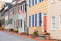 Historic homes in the Colonial Annapolis Historic District near downtown Annapolis, Maryland.