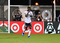 LAKE BUENA VISTA, FL - JULY 26: Leonard Owusu of Vancouver Whitecaps FC celebrates his shootout goal during a game between Vancouver Whitecaps and Sporting Kansas City at ESPN Wide World of Sports on July 26, 2020 in Lake Buena Vista, Florida.