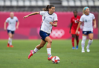 KASHIMA, JAPAN - AUGUST 2: Tobin Heath #7 of the USWNT dribbles during a game between Canada and USWNT at Kashima Soccer Stadium on August 2, 2021 in Kashima, Japan.
