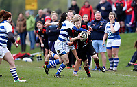 Sunday 7 April 2019 | Carrick W vs Dungannon W<br /> <br /> Lesley Mulligan tackles Kirsten Todd during the Rejenerate Cup Final between Carrick and Dungannon at Super Sunday Finals Day at Tom Simms Memorial Park, Carrickfergus RFC, County Antrim, Northern Ireland . Photo by John Dickson / DICKSONDIGITAL