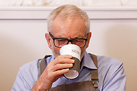Pictured: Jeremy Corbyn drinks coffee at Awesome Wales, a zero waste shop in Barry. Saturday 07 December 2019<br /> Re: Labour Party leader Jeremy Corbyn pre-election campaign in Barry, south Wales, UK.