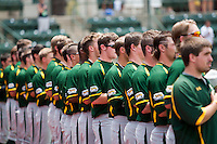 Baylor Bears baseball team lined up for the national anthem before the NCAA Regional game against Oral Roberts University on June 3, 2012 at Baylor Ball Park in Waco, Texas. Baylor defeated Oral Roberts 5-2. (Andrew Woolley/Four Seam Images)