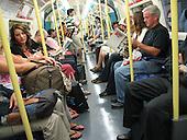 Passengers on the London underground.