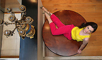 ***NO REPRODUCTION FEE PICTURE***.01/02/12 Karen Fitzpatrick wears a Yellow Pocket Detail Vest at EUR20 , Pink Trousers at EUR35 and Snake Print Belt at EUR12 pictured at the Morrison Hotel, Dublin this morning at the launch of the A Wear Spring Collection 2012...Picture Colin Keegan, Collins, Dublin. .***NO REPRODUCTION FEE PICTURE***