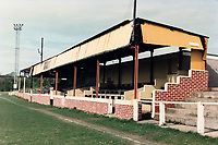 The main stand at Ferryhill Athletic FC Football Ground, Darlington Road, Ferryhill, County Durham, pictured on 19th April 1992