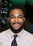 """Kareem Lucas attends the Birthday Party Photo Call for the Wheelhouse Theater Company production of Kurt Vonnegut's """"Happy Birthday, Wanda June""""  on October 3, 2018 at Bond 45 Times Square in New York City."""
