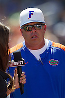 Florida Gators Head Coach Kevin O'Sullivan is interviewed during Game 11 of the NCAA College World Series on June 19, 2015 at TD Ameritrade Park in Omaha, Nebraska. The Gators defeated Virginia 10-5. (Andrew Woolley/Four Seam Images)