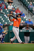 Norfolk Tides Cedric Mullins (38) at bat during an International League game against the Buffalo Bisons on June 21, 2019 at Sahlen Field in Buffalo, New York.  Buffalo defeated Norfolk 2-1, the first game of a doubleheader.  (Mike Janes/Four Seam Images)
