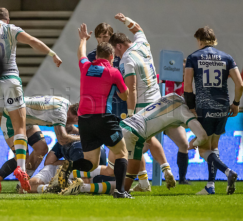 20th November 2020; AJ Bell Stadium, Salford, Lancashire, England; English Premiership Rugby, Sale Sharks versus Northampton Saints;  Referee Ian Tempest signals a try for Tom Collins of Northampton Saints in the 23rd minute to make the score 17-5 to Sale