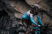 Tony Gallopin (FRA/AG2R-LaMondiale) solo's on<br /> <br /> 76th Paris-Nice 2018<br /> Stage 7: Nice > Valdeblore La Colmiane (175km)