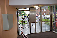 Firefighters testing dry riser in block of flats. This image may only be used to portray the subject in a positive manner..©shoutpictures.com..john@shoutpictures.com