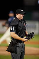 Umpire Mark Stewart during a Southern League game between the Jacksonville Jumbo Shrimp and Mobile BayBears on May 7, 2019 at Hank Aaron Stadium in Mobile, Alabama.  Mobile defeated Jacksonville 2-0.  (Mike Janes/Four Seam Images)