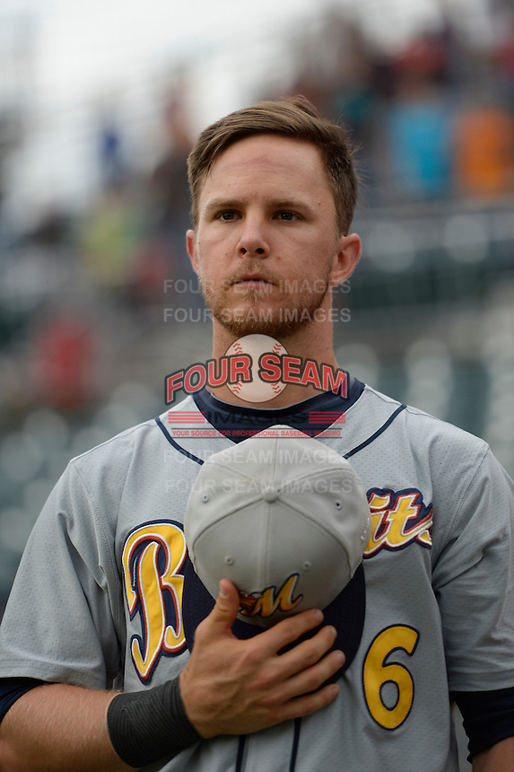 ***Temporary Unedited Reference File***Montgomery Biscuits Thomas Coyle (6) during a game against the Chattanooga Lookouts on May 2, 2016 at AT&T Field in Chattanooga, Tennessee.  Chattanooga defeated Montgomery 9-6.  (Mike Janes/Four Seam Images)
