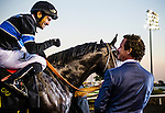 Corey Naktani talks with owner Jim Rome after winning Cash Call Futurity with Shared Belief on December 14, 2013 at Betfair Hollywood Park in Inglewood, California .(Alex Evers/ Eclipse Sportswire)
