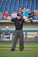 Umpire Junior Valentine handles the calls behind the plate during the game between the Reno Aces and the Nashville Sounds at Greater Nevada Field on June 5, 2019 in Reno, Nevada. The Aces defeated the Sounds 3-2. (Stephen Smith/Four Seam Images)