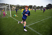 Rangers' Owen Barnett celebrates scoring the only goal during the Central League football match between Miramar Rangers and Lower Hutt AFC at David Farrington Park in Wellington, New Zealand on Saturday, 10 April 2021. Photo: Dave Lintott / lintottphoto.co.nz