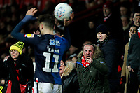 Matty Cash of Nottingham Forest receives abuse at a throw in during the Sky Bet Championship match between Brentford and Nottingham Forest at Griffin Park, London, England on 28 January 2020. Photo by Carlton Myrie.