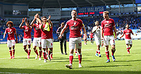 28th August 2021; Cardiff City Stadium, Cardiff, Wales;  EFL Championship football, Cardiff versus Bristol City; Bristol City players celebrate the 1-2 win in front of the travelling supporters