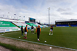 Barnet players warming up at the closed away end. Stockport County v Barnet, 07032020. Edgeley Park, National League. Photo by Paul Thompson.