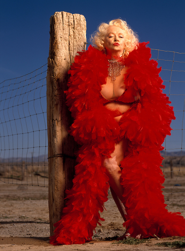 """Legendary Burlesque dancer Dixie Evans, known as the """"Marilyn Monroe of Burlesque"""" photographed at """"Exotic World"""" the strippers museum she runs in Helendale, Calfornia on March 20, 1993"""
