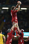 Wales lock Alun Wyn Jones wins the line out ball.<br /> Dove Men Series 2014<br /> Wales v Australia<br /> Millennium Stadium<br /> 08.11.14<br /> ©Steve Pope-SPORTINGWALES