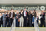 © Joel Goodman - 07973 332324 . 05/05/2017 . Manchester , UK . ANDY BURNHAM with his family after his victory , at the declaration . The count for council and Metro Mayor elections in Greater Manchester at the Manchester Central Convention Centre . Photo credit : Joel Goodman