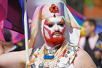 Pictured: A male participant. Saturday 04 May 2019<br /> Re: Swansea Pride Parade in south Wales, UK.