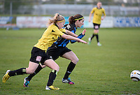 20140502 - VARSENARE , BELGIUM : Brugge's Lore Dezeure (r) pictured with Lierse's Merel Groenen (left)  during the soccer match between the women teams of Club Brugge Vrouwen  and WD Lierse SK  , on the 26th matchday of the BeNeleague competition on Friday 2 May 2014 in Varsenare .  PHOTO DAVID CATRY