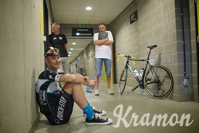 Race winner Tom Boonen (BEL/OPQS) at anti-doping check after the race. With temperatures averaging a humid 29°C during the race a lot of extra water needed to be consumed to be able to produce the required 'sample'.<br /> <br /> Heistse Pijl 2014