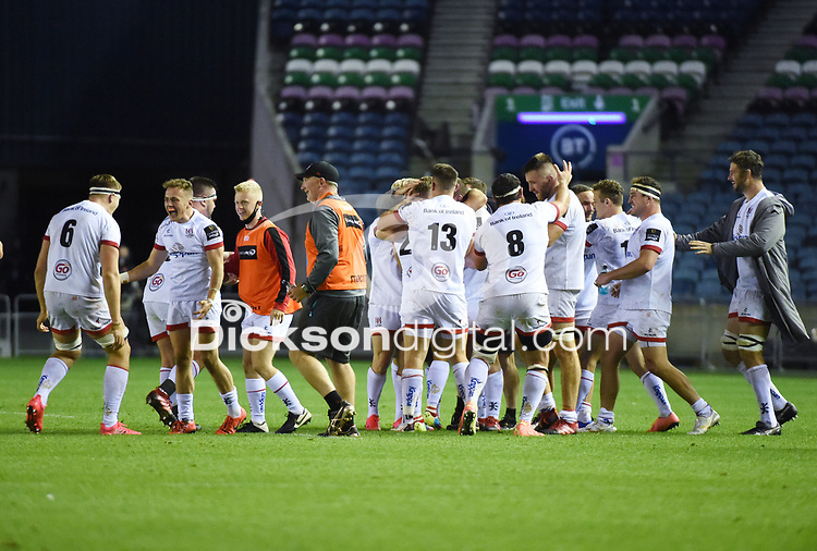 Ulster players celebrate just after Ian Madigan kicked a dramatic penalty in the last seconds to win the match and put his side into the Pro14 Final.<br /> Edinburgh Rugby v Ulster, Guinness Pro14 Semi-Final, Murrayfield Stadium, Edinburgh Scotland, Saturday 5th September 2020.<br /> PLEASE CREDIT: FOTOSPORT / DAVID GIBSON / DICKSONDIGITAL