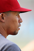 Rafael Furcal #15 of the St.Louis Cardinals before a game against the Los Angeles Dodgers at Dodger Stadium on May 18, 2012 in Los Angeles,California. Los Angeles defeated St.Louis 6-5.(Larry Goren/Four Seam Images)