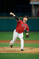 Rochester Red Wings relief pitcher Alex Wimmers (19) delivers a warmup pitch during the first game of a doubleheader against the Scranton/Wilkes-Barre RailRiders on August 23, 2017 at Frontier Field in Rochester, New York.  Rochester defeated Scranton 5-4 in a game that was originally started on August 22nd but postponed due to inclement weather.  (Mike Janes/Four Seam Images)