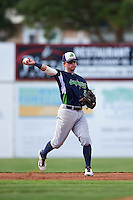 Vermont Lake Monsters second baseman Trace Loehr (6) warmup throw to first during a game against the Batavia Muckdogs August 9, 2015 at Dwyer Stadium in Batavia, New York.  Vermont defeated Batavia 11-5.  (Mike Janes/Four Seam Images)