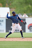 Syracuse Chiefs second baseman Irving Falu (10) throws to first base during a game against the Lehigh Valley IronPigs on May 20, 2018 at NBT Bank Stadium in Syracuse, New York.  Lehigh Valley defeated Syracuse 5-2.  (Mike Janes/Four Seam Images)
