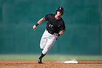 Casey Schroeder (17) of the Kannapolis Intimidators hustles towards third base against the Hagerstown Suns at Kannapolis Intimidators Stadium on June 15, 2017 in Kannapolis, North Carolina.  The Intimidators walked-off the Suns 5-4 in game one of a double-header.  (Brian Westerholt/Four Seam Images)