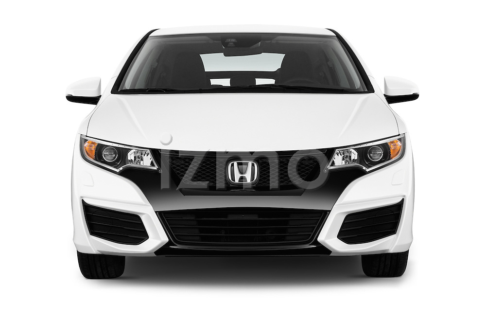 Car photography straight front view of a 2015 Honda Civic Comfort 5 Door Hatchback Front View