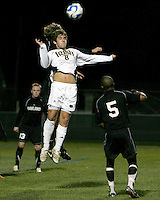 Michael Thomas #8 of Notre Dame wins a header from Ian Daniel #21 of Oakland. The University of Notre Dame defeated Oakland University 2-1 in the second round of the NCAA championship at Alumni Field at the University of Notre Dame in South Bend, Indiana on November 28, 2007.