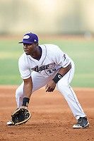 Winston-Salem Dash first baseman Keon Barnum (20) on defense against the Carolina Mudcats at BB&T Ballpark on June 6, 2014 in Winston-Salem, North Carolina.  The Mudcats defeated the Dash 3-1.  (Brian Westerholt/Four Seam Images)