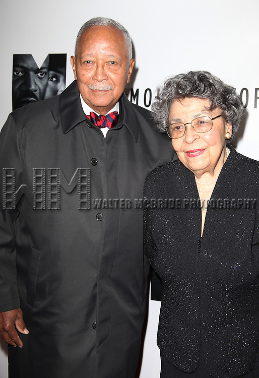 David Dinkins & wife.attending the Opening Night Performance of 'The Mountaintop' at the Bernhard B.  Jacobs Theatre in New York City.
