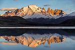 Chile, Patagonia, Torres del Paine National Park, Cordillera Paine, Los Cuernos (l), Almirante Nieto (m), Los Torres (r), Escudo (r), reflected in Lago Amarga