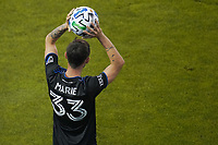 SAN JOSE, CA - SEPTEMBER 5: Paul Marie #33 of the San Jose Earthquakes on a throw in during a game between Colorado Rapids and San Jose Earthquakes at Earthquakes Stadium on September 5, 2020 in San Jose, California.