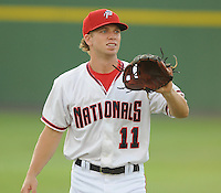 Infielder Cutter Dykstra (11) of the Potomac Nationals, Carolina League affiliate of the Washington Nationals, prior to a game against the Salem Red Sox on June 16, 2011, at Pfitzner Stadium in Woodbridge, Va. Photo by Tom Priddy / Four Seam Images